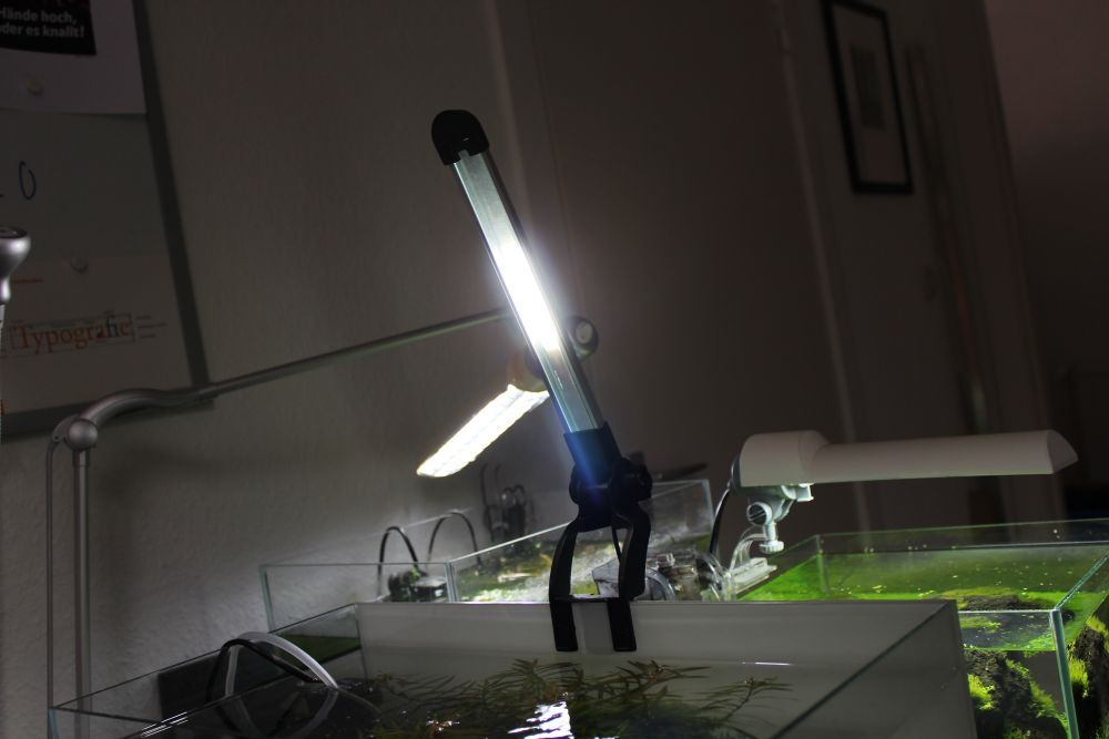 Die Aquael LED-Leuchte am Rand des Aquariums