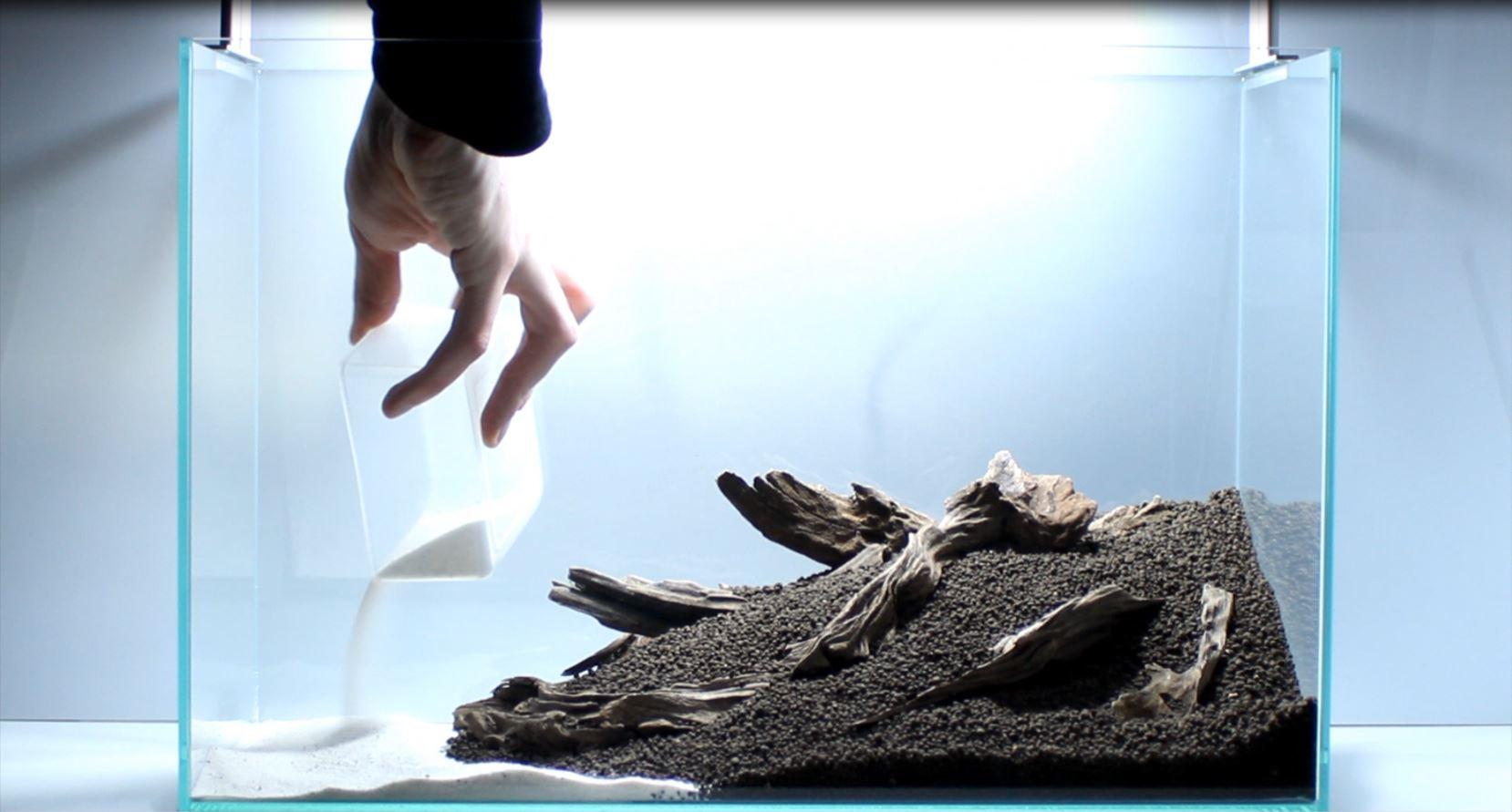 Sand im Vordergrund des Aquascaping ergibt einen sch?nen Ufereffeckt